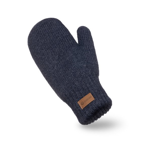Dark-blue melange womens' mittens