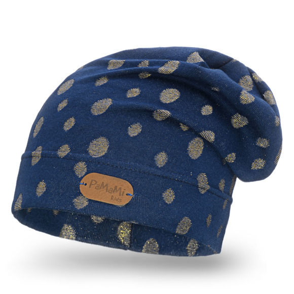 Girls' hat with golden dots pattern