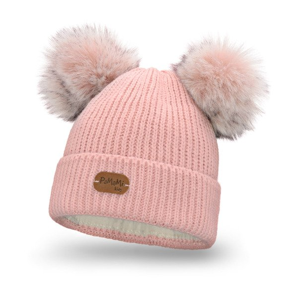 Girls' hat with two pompoms