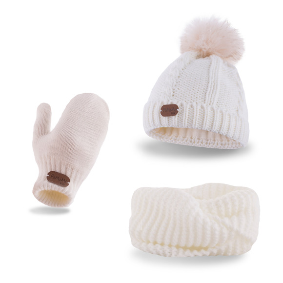 Girls' set - hat, tube scarf and mittens