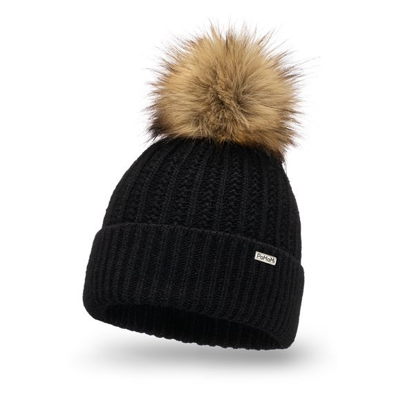 Warm women's winter hat pompom