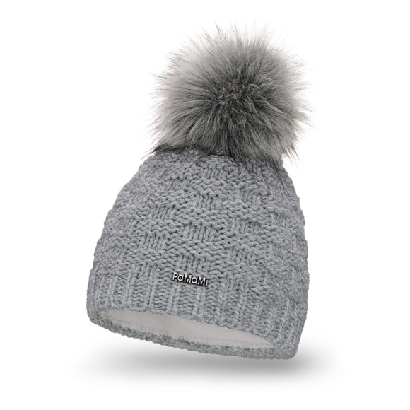 Warm women's winter hat with pompom