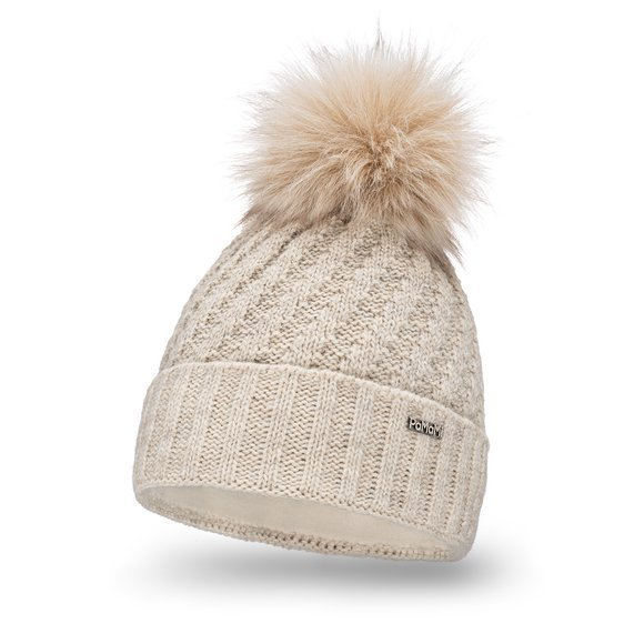 Warm women's winter hat with shiny thread