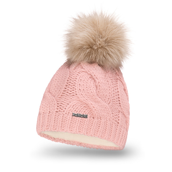 Women's winter hat with faux fur pompom
